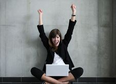 Free Woman With Laptop Stock Image - 9325671