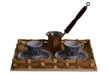 Free Set From Two Cups And A Coffee Maker On A Tray Royalty Free Stock Image - 9325736