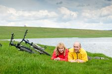 Free Two Cyclists Royalty Free Stock Image - 9326066