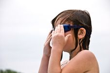 Free Girl Putting On Goggles Stock Photo - 9328140