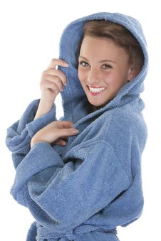 Free Smiling Woman In Bathrobe. Isolated Over White Bac Stock Photography - 9330542