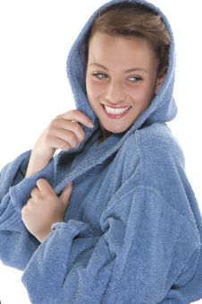 Free Smiling Woman In Bathrobe. Isolated Over White Bac Stock Photography - 9330562