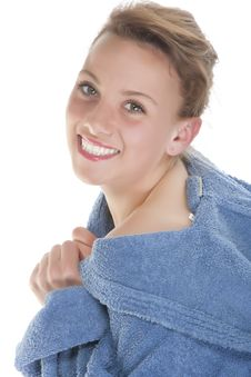 Free Smiling Woman In Bathrobe. Isolated Over White Bac Stock Image - 9330581