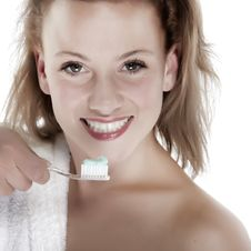 Girl Who Wash Their Teeth Stock Image