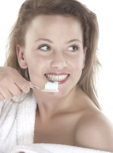 Girl Who Wash Their Teeth Stock Images