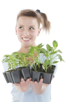 Free Smiling Girl Holding Young Plants Royalty Free Stock Photography - 9330927