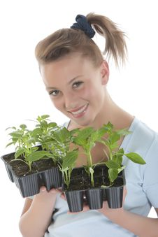 Free Girl Holding Young Plants Royalty Free Stock Photos - 9330938