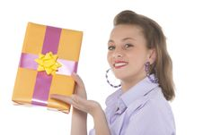 Free Young Smiling Girl With Present Royalty Free Stock Photos - 9331068