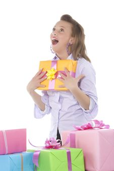 Free Young Smiling Girl With Present Stock Image - 9331131