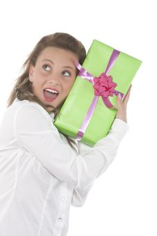 Free Young Smiling Girl With Present Royalty Free Stock Photos - 9331158