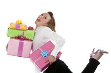 Free Young Smiling Girl With Present Stock Photos - 9331283