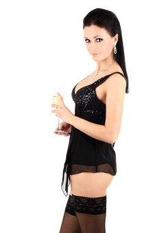 Free Brunette With A Champagne Glass. Royalty Free Stock Images - 9331329