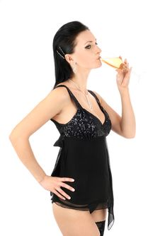 Free Brunette With A Champagne Glass. Stock Photo - 9331340