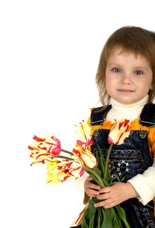 Free Cute Little Girl Giving Tulips Stock Photography - 9331802