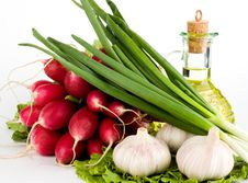 Green Vegetables And  Bottle Of Oil Royalty Free Stock Images