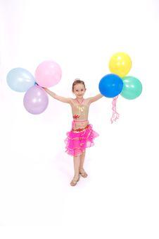 Free Girl Holds Balloons Stock Photo - 9333550