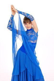 Girl In Blue Dress Posing In Studio Stock Photos