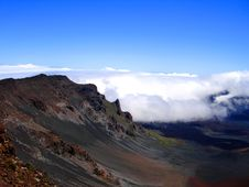 Clouds Rolling Into Haleakala, Maui, Hawaii Stock Photos