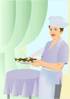The Woman-cook Stock Image