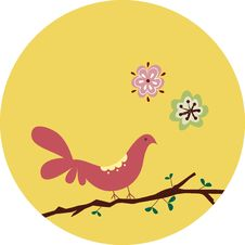Free Pink Bird With Floral Stock Image - 9336521