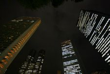 Free Skyscrapers In Tokyo At Night From Below Royalty Free Stock Photos - 9337758