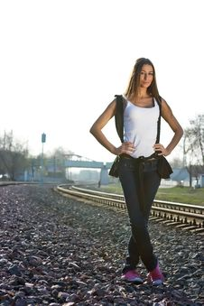 Free Railroad Girl Stock Photo - 9337780