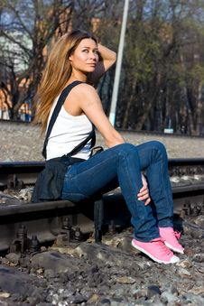 Free Brunette On Rails Royalty Free Stock Image - 9337786