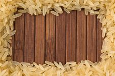 Frame Of Uncooked Rice, Copy Space. Royalty Free Stock Photos