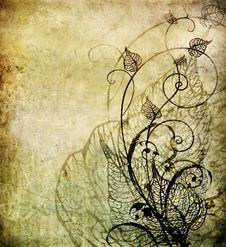 Old Paper With Floral Pattern Stock Photo