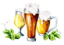 Free Beer, Hops, Malt Set. Watercolor Stock Photos - 93358363