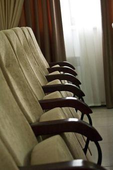 Chairs In Row In Conference Hall Empty Stock Photo