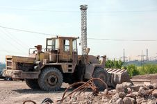 Free Bulldozer In Industrial Quarry Stock Images - 93396684