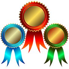 Collection Of Gold, Silver And Bronze Medals Royalty Free Stock Images