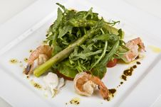 Free Salad From Shrimps And By An Asparagus Kidney Bean Stock Photo - 9340410