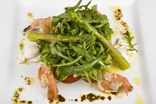 Free Salad From Shrimps And By An Asparagus Kidney Bean Stock Images - 9340444