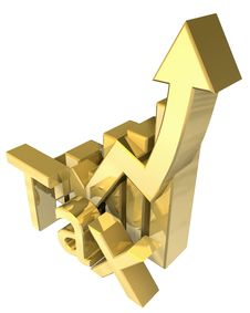 Free Statistics Graphic In Gold Stock Image - 9341091