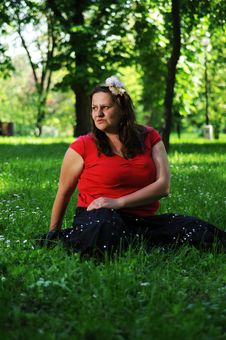 Bohemia Woman In A Park Stock Photo