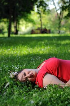 Bohemia Woman In A Park Stock Images