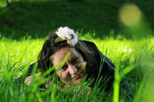 Bohemia Woman In A Park Stock Photos