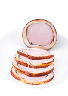 Delicious Baked Ham With Bacon. Bon Appetit! Stock Photography