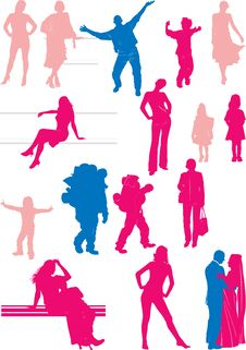Free Sixteen People Silhouettes Royalty Free Stock Photos - 9342078