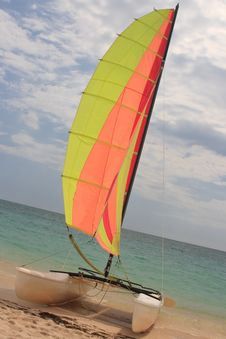 Catamaran With Colored Sail Royalty Free Stock Images