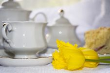 Free Breakfast With Cake And Tea Stock Images - 9343784