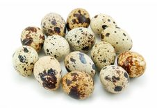 Group Of Raw Quail Eggs Isolated On White Stock Image