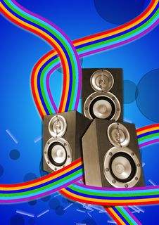 Free Three Loudspeaker With Retro Flowing Lines Royalty Free Stock Photography - 9344467