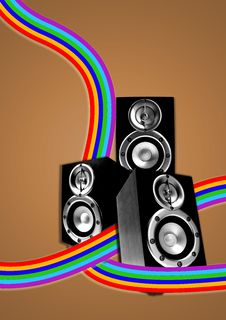 Three Loudspeaker With Retro Flowing Lines Stock Photos
