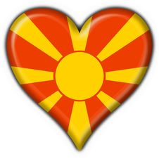 Free Macedonia Button Flag Heart Shape Royalty Free Stock Photography - 9344757