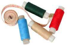 Free Set Of Coils Of Threads With A Measured Tape Royalty Free Stock Image - 9344926
