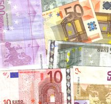 Bunch Of Euro Notes Royalty Free Stock Photo