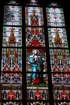 Free Stained-glass Window In St.Vitus Cathedral Stock Photos - 9345223
